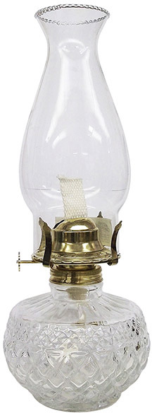 L399CL 13 IN. CLEAR DIAMOND OIL LAMP