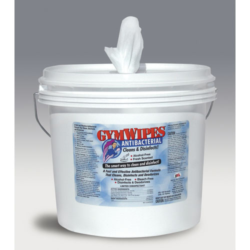 Antibacterial Gym Wipes, 6 x 8, Fresh Scent, 700 Wipes/Bucket, 2 Buckets/Carton
