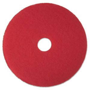 "Low-Speed Buffer Floor Pads 5100, 14"" Diameter, Red, 5/Carton"