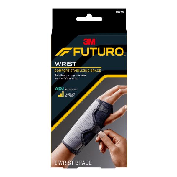 "Adjustable Reversible Splint Wrist Brace, Fits Wrists 5 1/2""- 8 1/2"", Black"