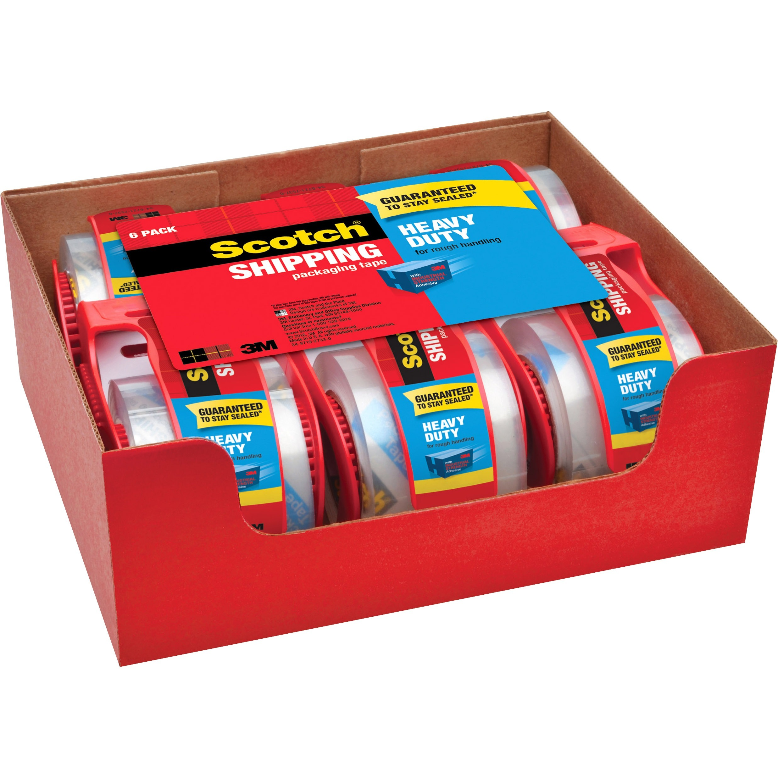 "3850 Heavy-Duty Packaging Tape in Sure Start Disp., 1.88"" x 800"", Clear, 6/Pack"