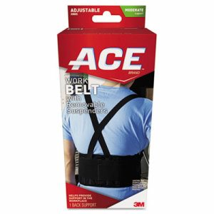 Work Belt with Removable Suspenders, One Size Adjustable, Black