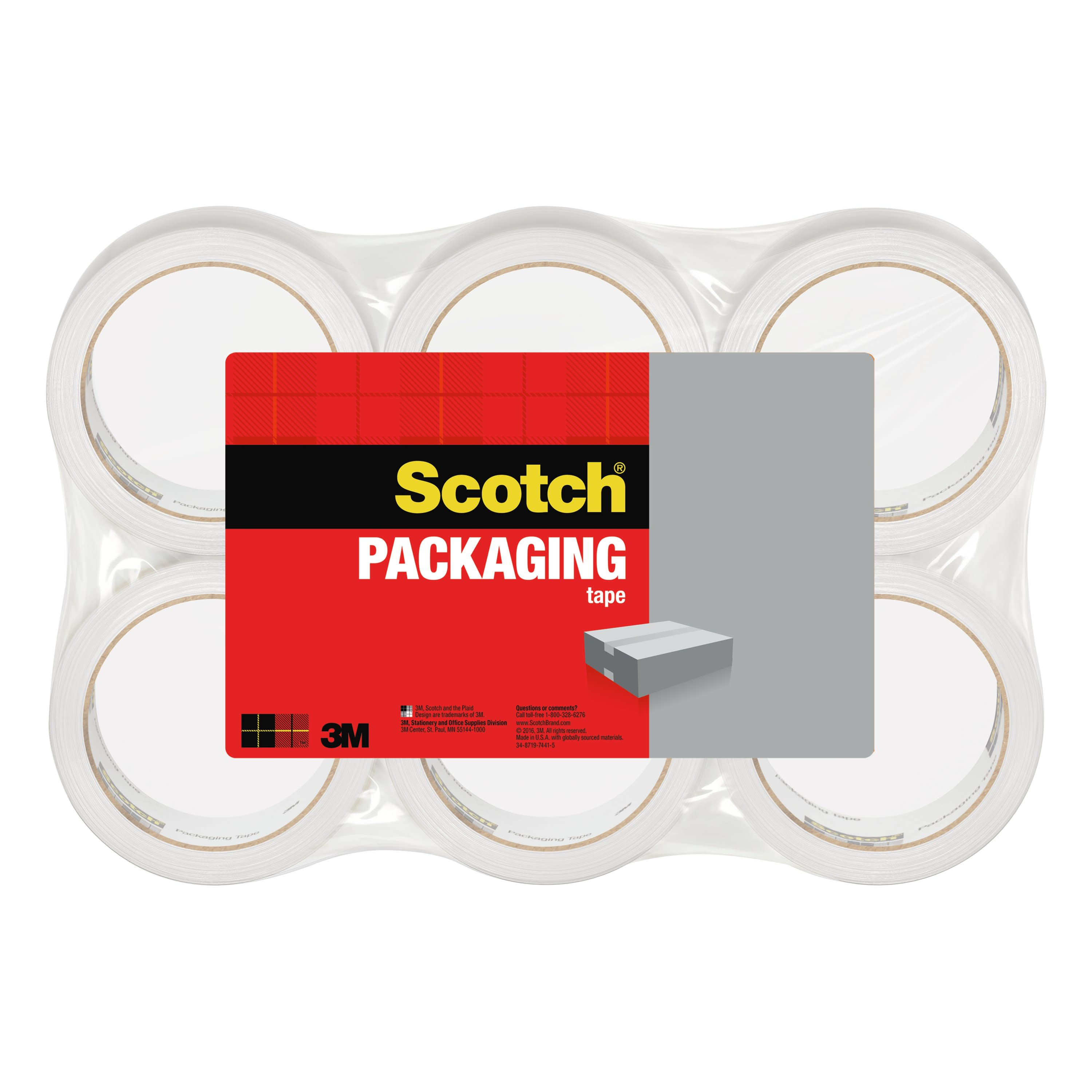 "3350 General Purpose Packaging Tape, 1.88"" x 54.6yds, 3"" Core, Clear, 6/Pack"