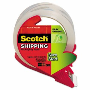 """Sure Start Packaging Tape w/Dispenser, 1.88"""" x 38.2 yards, 3"""" Core, Clear"""