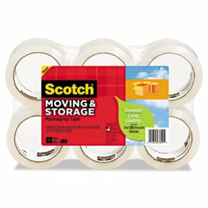 "Moving & Storage Tape, 1.88"" x 49.2yds, 3"" Core, Clear, 6/Pack"