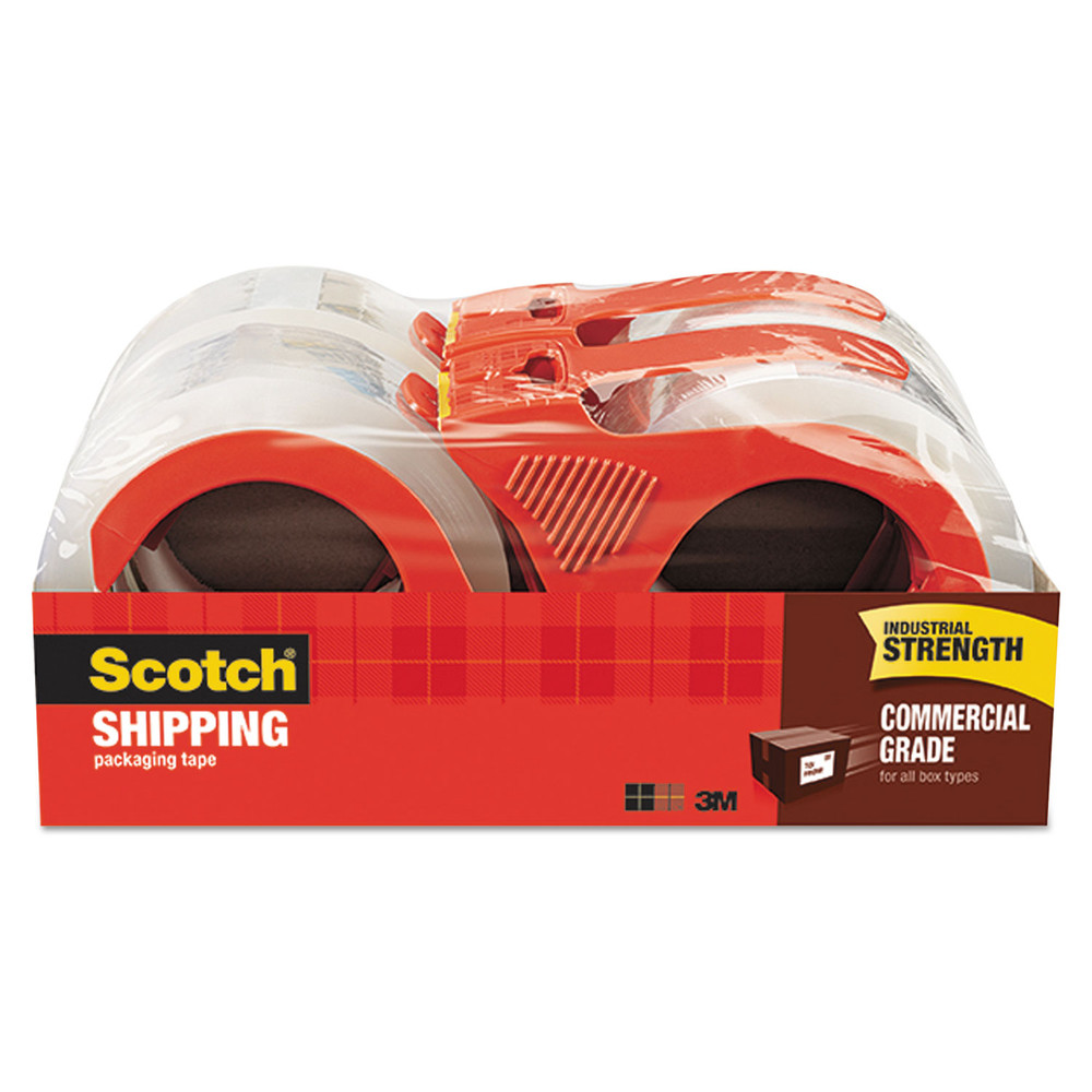 "3750 Commercial Grade Packing Tape w/Disp, 1.88"" x 54.6yds, 3"" Core, Clear, 4/PK"