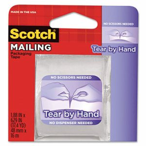 "Tear-By-Hand Packaging Tape, 1.88"" x 17 1/2 yds, 1 1/2"" Core, Clear"