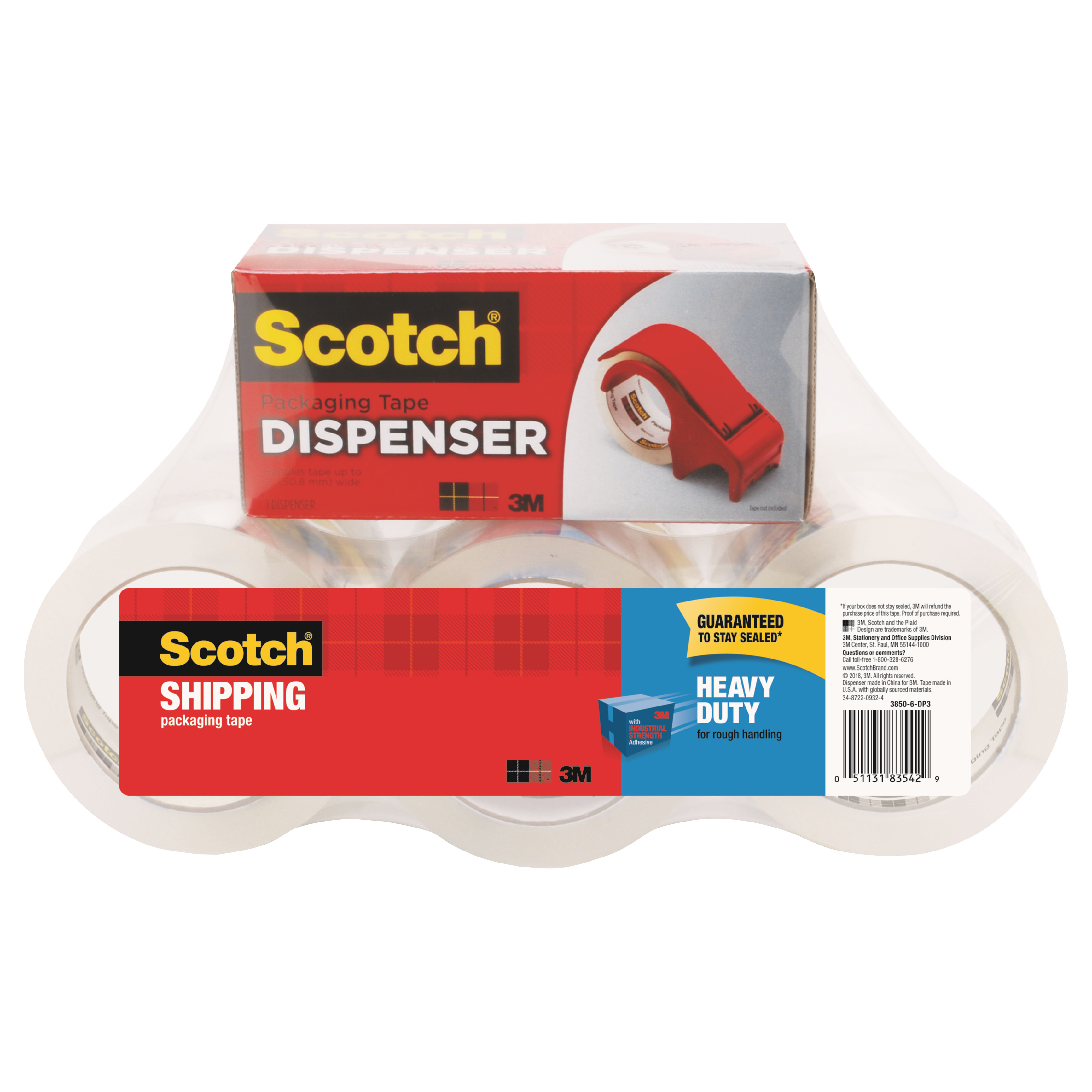 "3850 Heavy-Duty Packaging Tape, 1.88"" x 54.6yds, 3"" Core, Clear, 6/Pack"