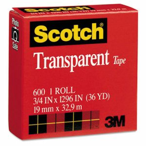"Transparent Tape, 3/4"" x 1296"", 1"" Core, Clear"