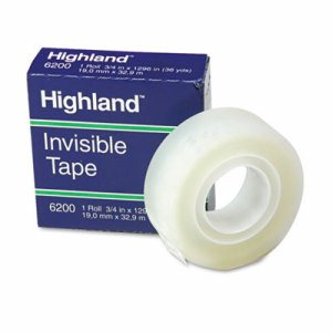 "Invisible Permanent Mending Tape, 3/4"" x 1296"", 1"" Core, Clear"