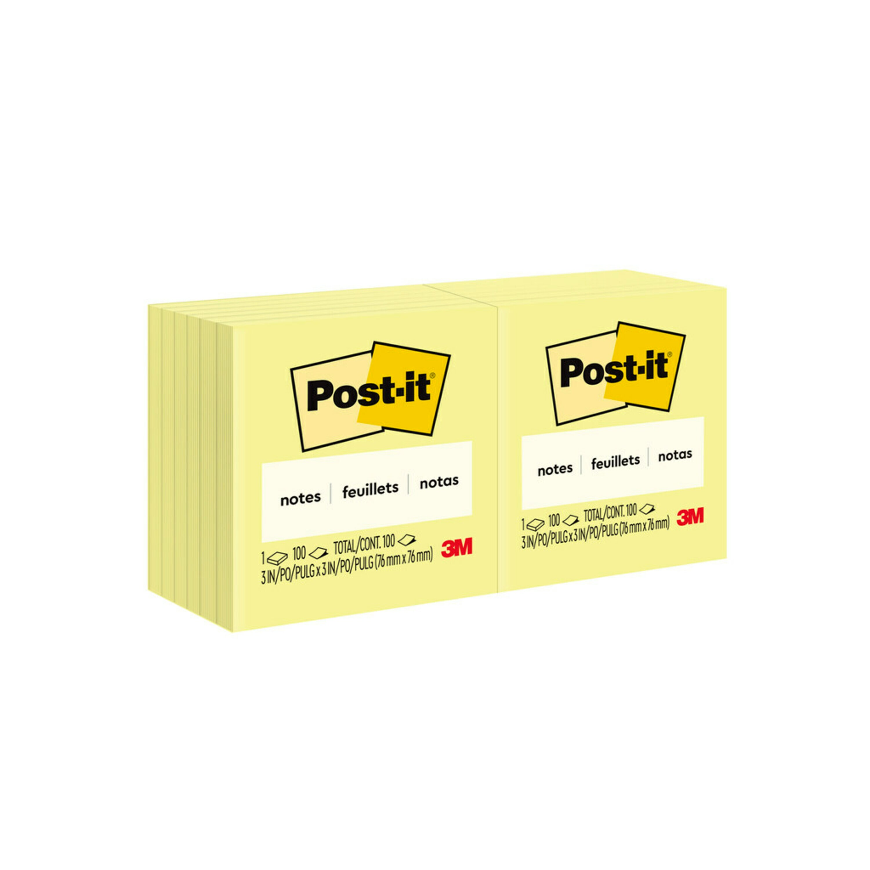 Original Pads in Canary Yellow, 3 x 3, 100-Sheet, 12/Pack
