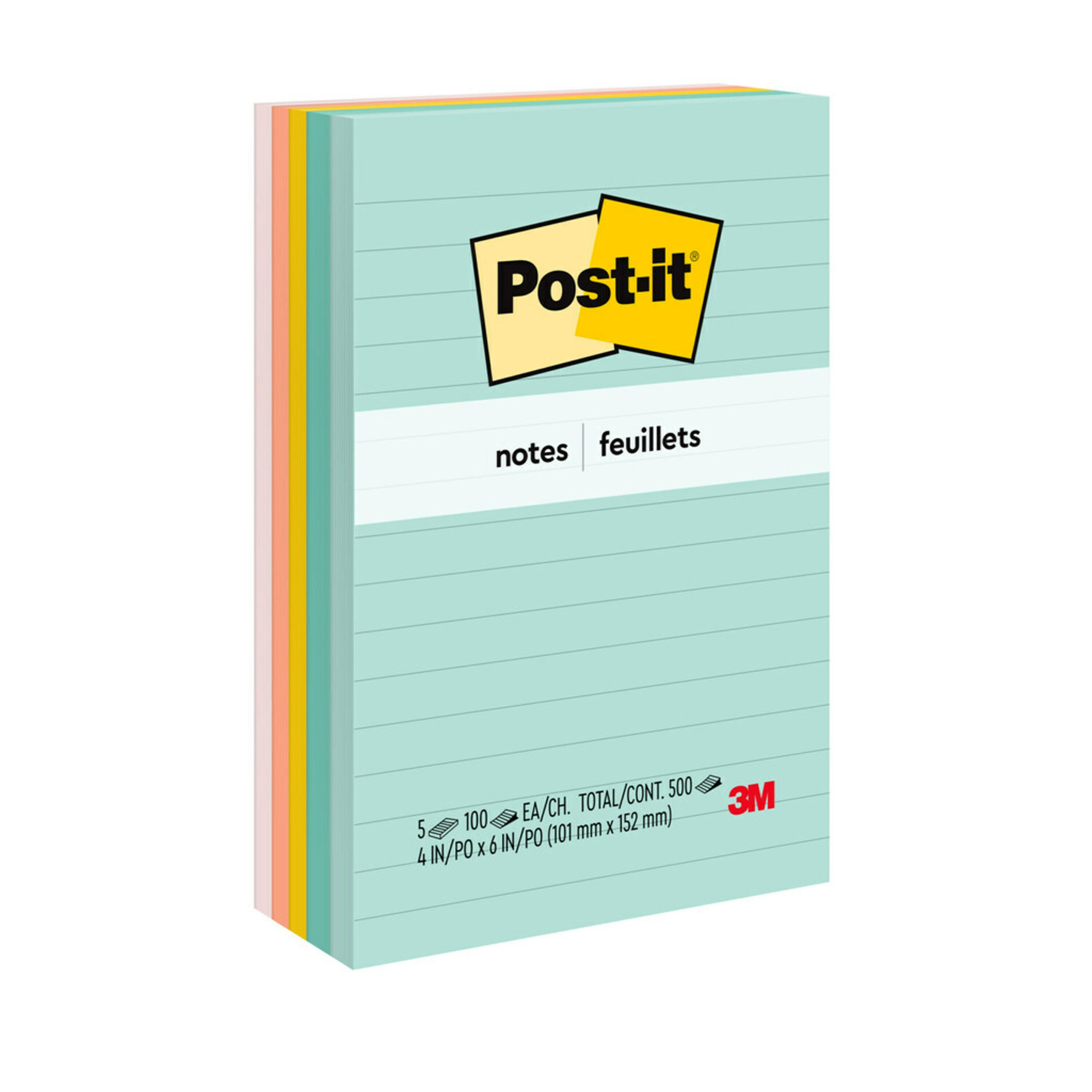 Original Pads in Marseille Colors, Lined, 4 x 6, 100-Sheet, 5/Pack