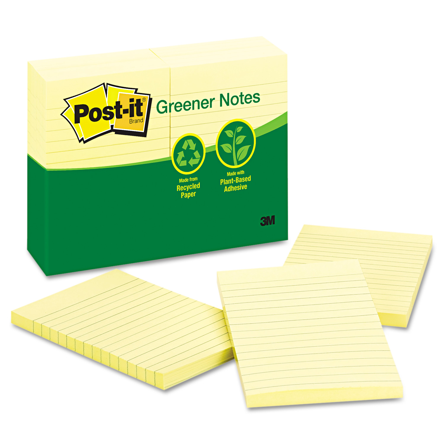 Recycled Note Pads, 4 x 6, Lined, Canary Yellow, 100-Sheet, 12/Pack