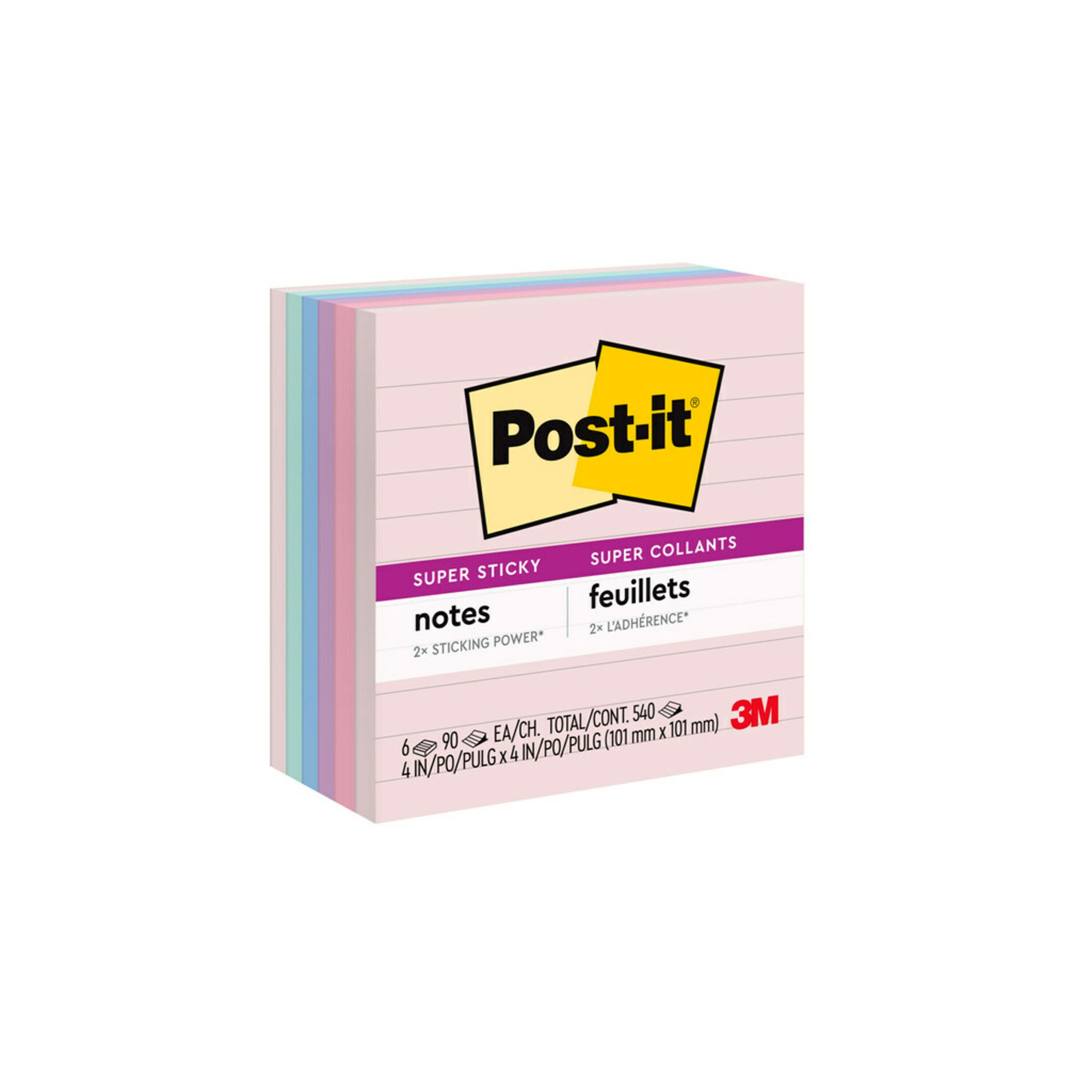 Recycled Notes in Bali Colors, Lined, 4 x 4, 90-Sheet, 6/Pack