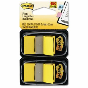 Standard Page Flags in Dispenser, Yellow, 100 Flags/Dispenser