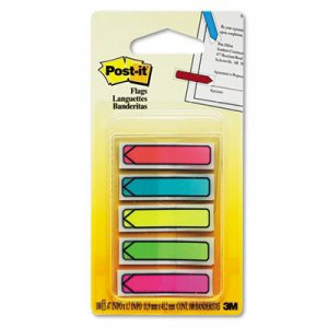 "Arrow 1/2"" Page Flags, Five Assorted Bright Colors, 20/Color, 100/Pack"