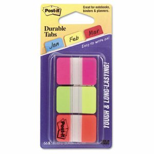 File Tabs, 1 x 1 1/2, Assorted Brights, 66/Pack