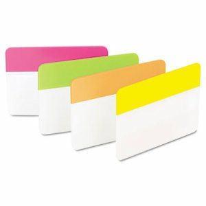 File Tabs, 2 x 1 1/2, Solid, Flat, Assorted Bright, 24/Pack