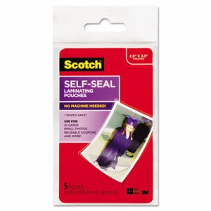 Self-Sealing Laminating Pouches, Glossy, 2 13/16 x 3 3/4, Wallet Size, 5/Pack