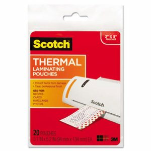 Index Card Size Thermal Laminating Pouches, 5 mil, 5 3/8 x 3 3/4, 20/Pack
