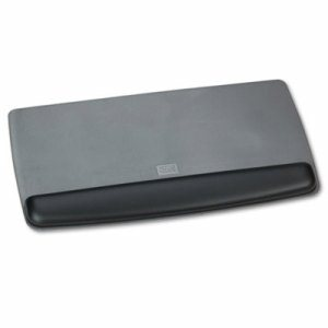 Antimicrobial Gel Keyboard Wrist Rest Platform, Black/Gray/Silver