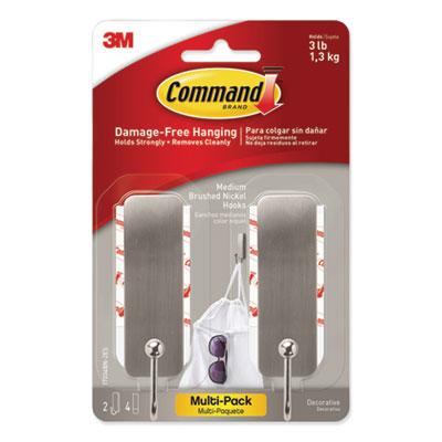 Decorative Hooks, Medium, Brushed Nickel, 2 Hook and 4 Strips/Pack