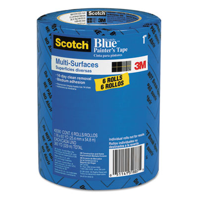 "Painter's Tape, .94"" x 60yds, 3"" Core, Blue, 6/Pack"