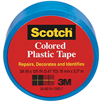 TAPE PLASTIC BLUE 3/4X125IN