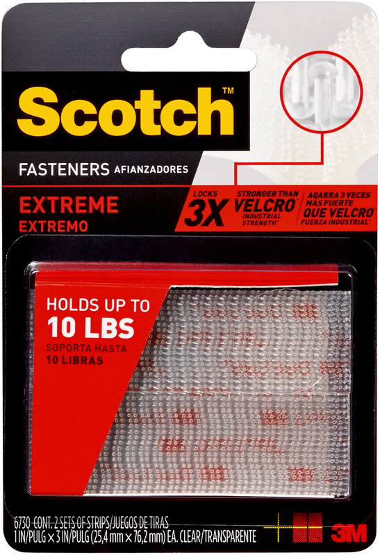 Scotch RF6730 Extreme Dual Lock Hook and Loop Reclosable Fastener, 3 in L x 1 in W, Clear