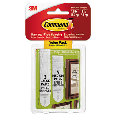 3M 17209ES Command Picture/Frame Hanging Strips, White