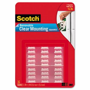 Scotch 859 Removable Mounting Square, 11/16 in L x 11/16 in W, Polyester, Clear