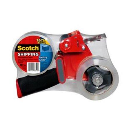 Scotch 3850-2 Heavy Duty Packaging Tape With Dispenser, 1.88 in W X 54.6 Linear yd L, Clear