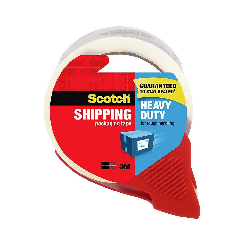 Scotch 3850-RD Heavy Duty Packaging Tape With Dispenser, 1.88 in W X 54.6 Linear yd L X 3.1 mil T, Clear