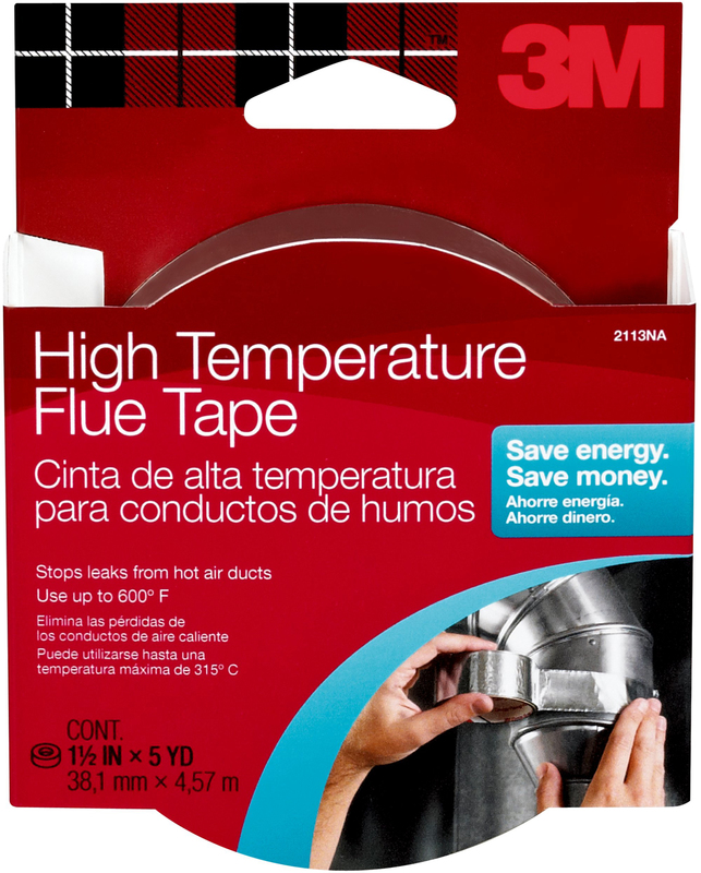 3M 2113 High Temperature Flue Tape, 15 ft L x 1-1/2 in W, Foil Backing, Silver Tape