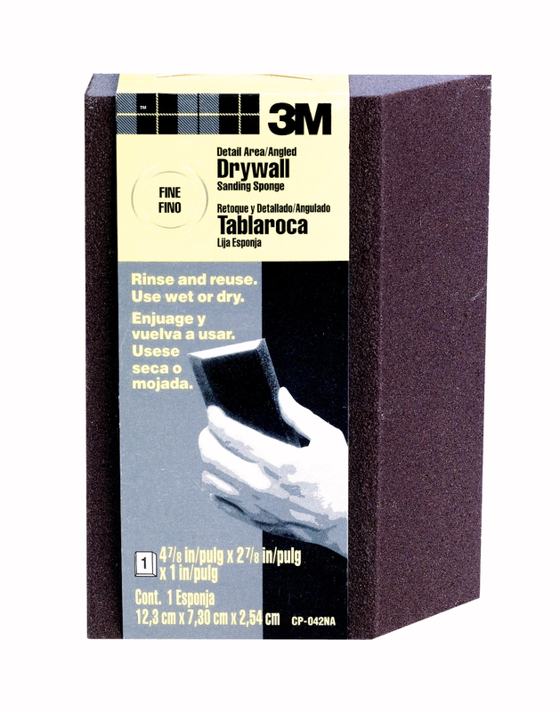 3M CP-042 Angled Sanding Sponge, 4-7/8 in L x 2-7/8 in W, 1 in T, Aluminum Oxide