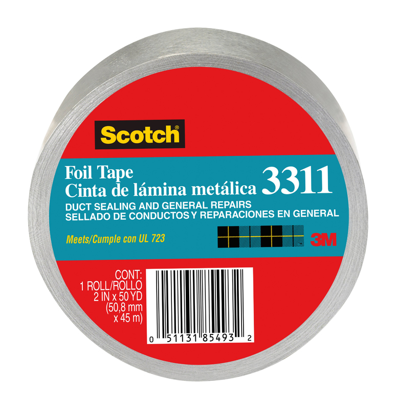 Scotch 3311-50A Foil Tape, 2 in W x 50 yd L x 3.6 mil T, Silver