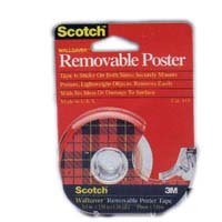 Scotch 109 Removable Poster Tape, 3/4 in W x 150 in L x 4 mil T, Clear