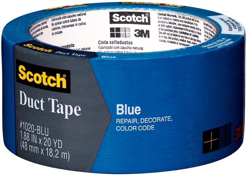 Scotch 1020-BLU-A Colored Duct Tape, 1.88 in W x 20 yd L, Blue