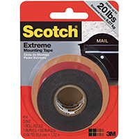 Scotch Extreme Mounting Tape, 60 in L x 1 in W, Black
