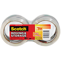 Scotch 3650-2 Long Lasting Moving and Storage Packaging Tape With Dispenser, 1.88 in W x 54.6 yd L x 2.4 mil T