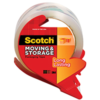 Scotch 3650-RD Long Lasting Moving and Storage Tape With Refillable Dispenser, 1.88 in W X 54.6 Linear yd L, Clear