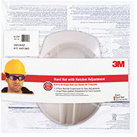 3M Hard Hat, Polyethylene, White, 4-Point Ratchet Adjustment Suspension