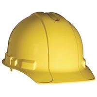 3M Hard Hat, Polyethylene, Yellow, 4-Point Ratchet Adjustment Suspension