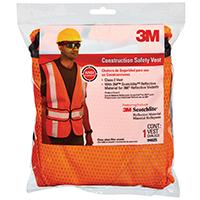 3M 94625-80030T Construction Safety Vest, Polyester Mesh, Hi-Viz Orange