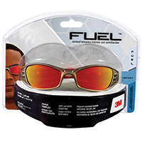 3M 90987-80025 Fuel Sport Safety Glasses, Tekk Protection, Red Mirror Lens