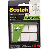 Scotch RF4720 General Purpose Self-Stick Fastener Square 7/8 in L x 7/8 in W, Fabric, White