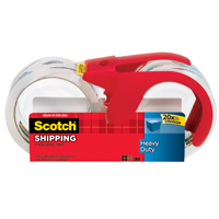 Scotch 3850S-2-1RD Heavy Duty Shipping Packaging Tape With Dispenser, 1.88 in W x 38.2 yd L x 3.1 mil T, Clear