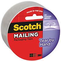 Scotch 3842 Tear-By-Hand Mailing Packaging? Tape, 48 mm W x 35 m L x 2.6 mil T, Clear