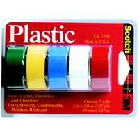 Scotch 190T Plastic Tape, 3/4 in W X 125 in L, Assorted