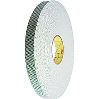 3M 4016 Double Coated Tape, 1/2 in W x 36 yd L x 62 mil T, Off-White